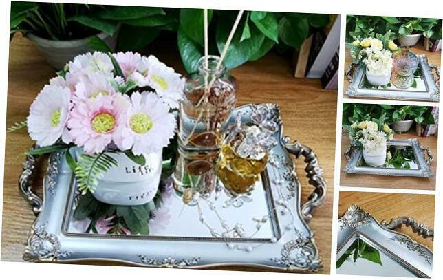 Rectangle Decorative Mirror Tray, French Style, Makeup Golden Silver