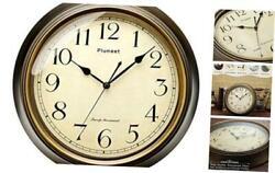 Large Retro Wall Clock - 13'' Non Ticking Classic Silent Clocks 13 Bronze