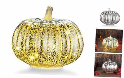 "Mercury Glass Home Decor Pumpkin, 5.5"" Battery Operated LED Pumpkin Lights with"