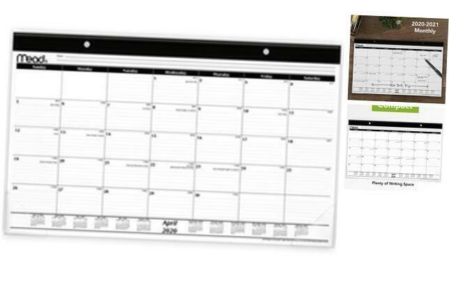 "Mead 2020-2021 Academic Year Monthly Desk Pad Calendar, Compact, 17-3/4"" x 11 (C"