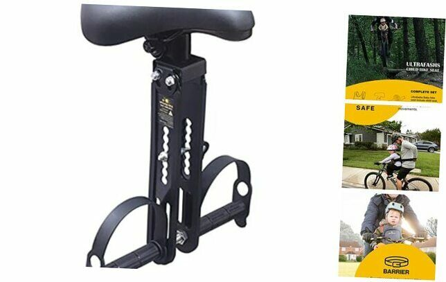Baby Bike Seat Front Mount for Kids with Safety Harness Reflective Baby Seat