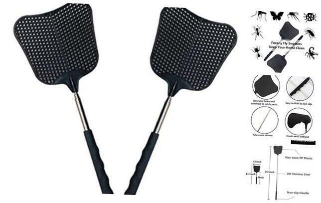 Telescopic Fly Swatters, Durable Plastic Fly Swatter Heavy Duty Set,