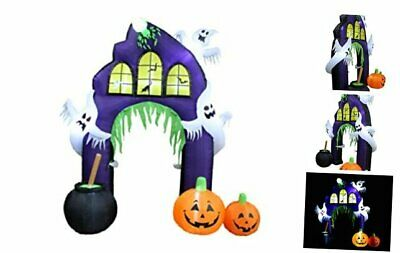 9 Foot Tall Halloween Inflatable Castle Archway with Pumpkins and Ghosts LED Lig