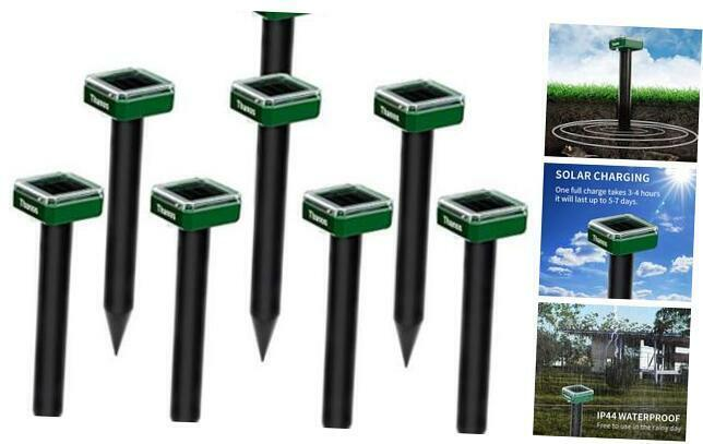 Solar Mole and Groundhog Repellent Stakes Sonic Gopher Repeller Vole 8PCS