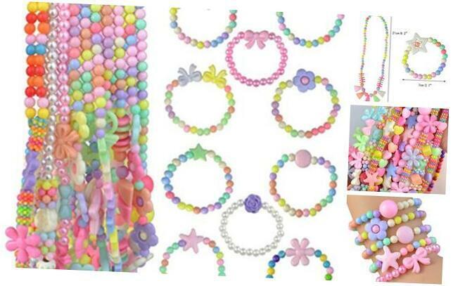 20Pcs Princess Necklace Bracelet Set, Little Girls Costume Jewelry Play