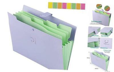 Expanding File Folders With 5 Pockets Plastic A4 Letter Size Accordion Documen