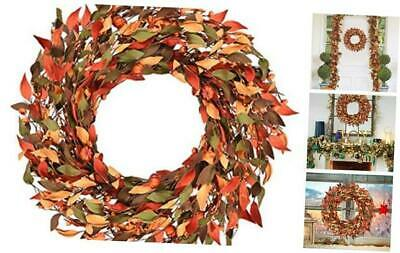 Artificial Pumpkin Wreath Fake Halloween Pumpkin Garland Autumn Leaf Thanksgivi