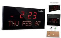 Ivation Big Oversized Digital Blue LED Calendar Clock with Day and Date - Shelf