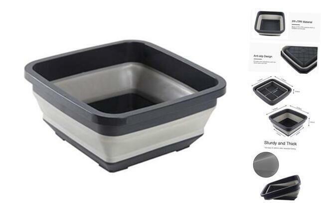 Collapsible Tub Wash Bin Multiuse Washing Basin Dish Pan, Ice Black square