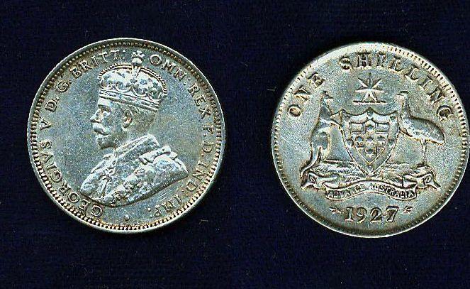 AUSTRALIA GEORGE V  1927  1 SHILLING SILVER COIN  XF+