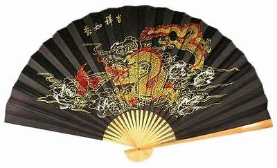 """(1) ORIENTAL 60"""" FENG SHUI~FIERY DRAGON ~ Asian Wall Decor Fan"""