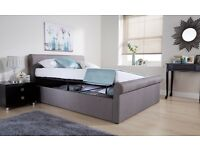 Double Ottoman Storage Bed - Grey Fabric