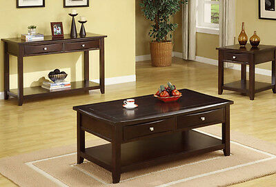 (NEW 3PC AUGUST DARK ESPRESSO FINISH WOOD COFFEE END TABLE SET w/ DRAWERS)