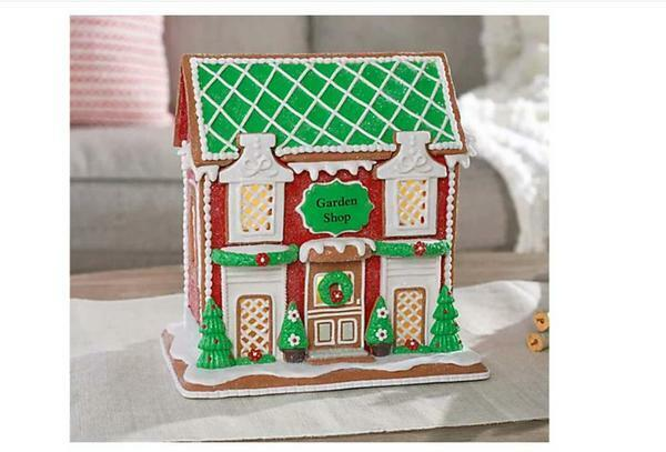 """Illuminated 9"""" Gingerbread Cottages by Valerie Garden Shop"""