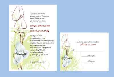 Calla Lily Wedding Invitation (100 Personalized Custom Spring Calla Lily Floral Bridal Wedding Invitations Set )