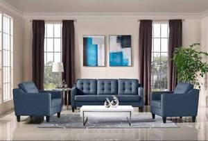 BLUE MODERN FABRIC SOFA and 1 CHAIR BLOW OUT DEAL$$ 999