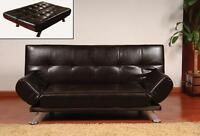 BRAND NEW FAUX LEATHER SOFA / SOFA BED W/ FOLDABLE ARMS LIMITED
