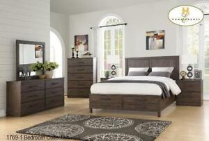 ANTIQUE BROWN FINISH 8 PC QUEEN BEDROOM SET (MA362)