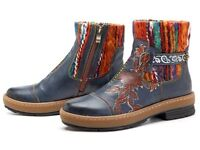 SOCOFY Boots, Size 39, Bohemian color match pattern leather ankle boots, BRAND NEW.