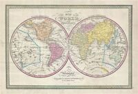 1850 Mitchell - Cowperthwait Map of the World in Hemispheres