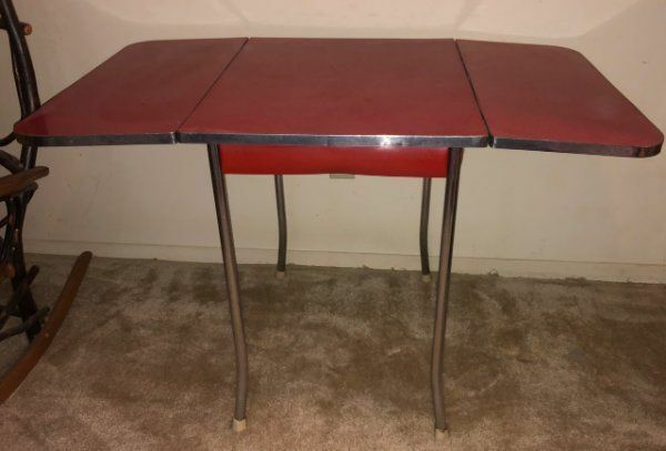 1950s Mid Century Modern Formica Kitchen Table Red Drop Leaf