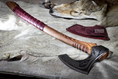 Axe Viking battle forged axe for cutting bones and meat of trees camping hunting