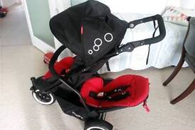 Phil and Ted Dot double buggy with footmuff, buggy board and more