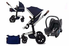 Joolz Day full travel system in Parrot Blue and isofix car seat and base.
