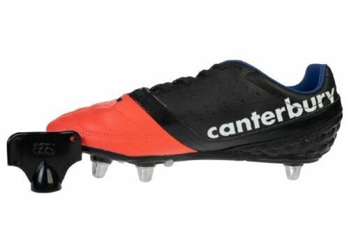 Phoenix Club 8 Stud Men's Canterbury Leather Rugby Boots in Black/Firecracker