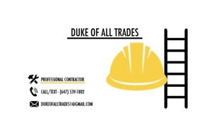 Contractor and renovations, handy man with trades in all repairs