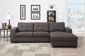 CHRISTMAS SPECIAL!! BRAND NEW! STYLE 2 Pc GREY FABRIC SECTIONAL