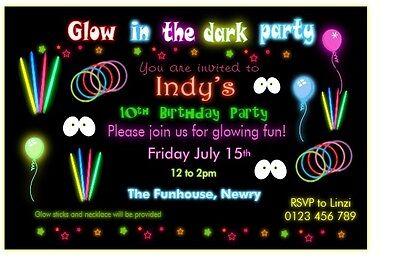 Glow In The Dark Invites (10 Personalised Children Glow in The Dark Party Invites/Invitations w/Envelopes)