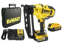 Dewalt brushless second fix pin gun, with two 2ah lith batteries charger and carry case