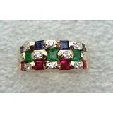 18KT Gold LeVian Diamond, Ruby, Emerald and Blue Sapphire Fashion Ring