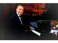 Pianist for weddings & events with piano shell (White of black)