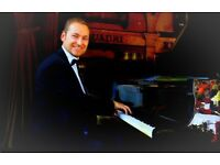 Professional Pianist for weddings & events - with white piano shell