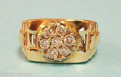 Mens Diamond Cluster Ring - 14K Yellow Gold - 7 Diamonds Total 1/2 ct