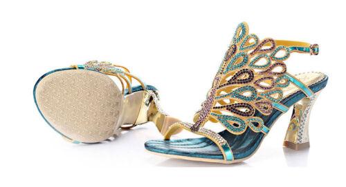 как выглядит Женская обувь на высоком каблуке Women Shine Peacock Rhinestone Crystal High Heel Sandal Evening Wedding Shoes фото