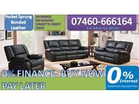 122 3 and 2 seater leather recliner sofa