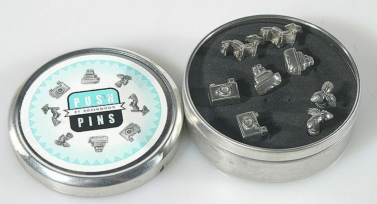 PHOTOGRAPHIC PUSH PINS SET OF 2 WITH ORIGINAL TIN BOX