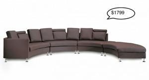 Genuine Brown Leather Circular Sofa and Oversized Ottoman