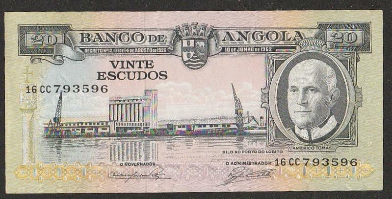 1962 ANGOLA 20 ESCUDO NOTE UNC
