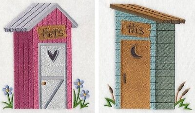 - OUTHOUSES HIS AND HERS UNIQUE SET OF 2 BATH HAND TOWELS EMBROIDERED BY LAURA