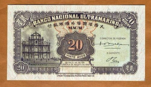 Macao / Macau 20 Avos, 1946, P-37, UNC > over 70 years old