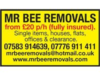 MR BEE REMOVALS FROM £20 P/H FULLY INSURED RELIABLE MEN WITH VANS FOR REMOVALS