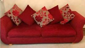 Large 4 Seater Red Fabric Sofa