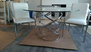Chrome, Glass and Leather Dining Room set .