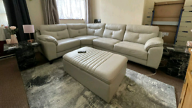 Si Si Italia leather corner sofa with storage foot stool