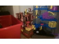Imaginext Boys bundle, bat cave and car, pirate ship, fire station, helicopter, plane, ambulance etc