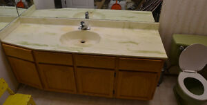 ** Bathroom vanity cultured marble top, matching toilet **